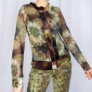 Y2k fairy grunge mesh and velvet layered top